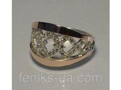 Кольцо серебряное с золотыми напайками (087к)