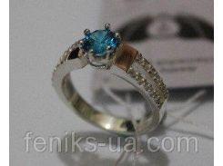 Серебряное кольцо с золотыми накладками (ch0010)