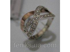 Серебряное кольцо с золотыми накладками (ch0014)