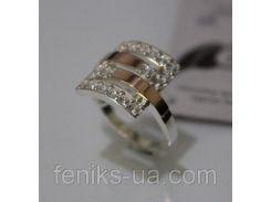 Серебряное кольцо с золотой накладкой (ch0016)