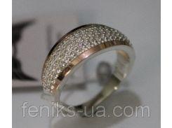 Серебряное кольцо с золотыми вставками (ch0022)