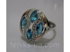 Серебряное кольцо с золотыми накладками (ch0028)