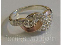 Серебряное кольцо с золотыми накладками (086к)