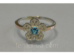 Серебряное кольцо с золотыми напайками (094к)