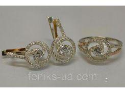 Серебряный гарнитур с золотыми накладками (115)