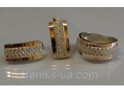 Серебряный гарнитур с золотыми накладками (029)