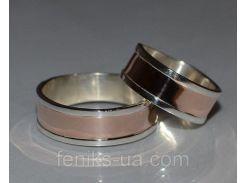 Обручальное серебряное кольцо с золотой накладко (Обр 3)
