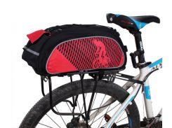 Сумка велосипедная B-Soul на багажник + дождевик черно-красная