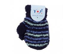 Махровые варежки YO! со шнурком, р.10, синий c бирюзовым (R-89/BOY/10)