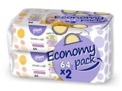 Детские влажные салфетки Bella Baby Happy Milk & Honey Economy Pack, 2х64 шт.