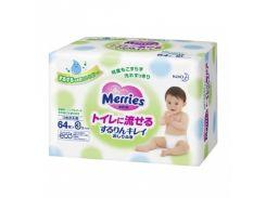 Влажные салфетки Merries Flushable сменный блок, 3х64 шт.