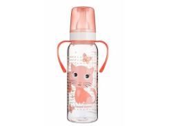 Тритановая бутылочка с ручками Canpol Babies Ферма Котик, 250 мл (11/845)