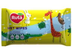 Влажные салфетки Ruta Selecta Веселые зверята, с экстрактом алоэ, 60 шт.