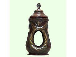 Керамическая лампада Славянский сувенир Венок L-04 глазурь коричневая