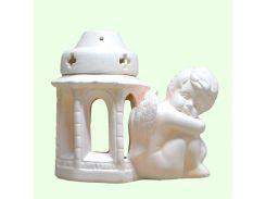 Керамическая лампада Славянский сувенир Ангел спящий L-05 глазурь белая
