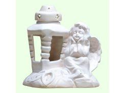 Керамическая лампада Славянский сувенир  Ангел с лилиями L-07 глазурь белая