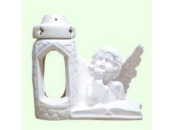 Керамическая лампада Славянский сувенир Ангел читающий L-08 глазурь белая
