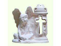 Керамическая лампада Славянский сувенир Ангел хранитель L-09 глазурь белая