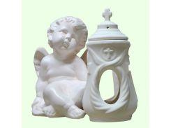 Керамическая лампада Славянский сувенир Ангел левый L-10 глазурь белая