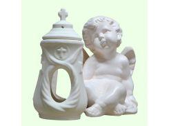 Керамическая лампада Славянский сувенир Ангел правый L-11 глазурь белая
