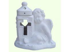 Керамическая лампада Славянский сувенир Ангел с крестом L-13 глазурь белая