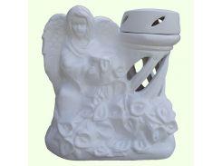 Керамическая лампада Славянский сувенир Ангел с калами L-14 глазурь белая