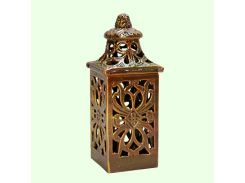 Керамическая лампада Славянский сувенир Ажурный квдрат L-15 глазурь коричневая
