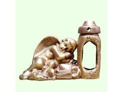 Керамическая лампада Славянский сувенир Ангел с книгой L-16 глазурь белая