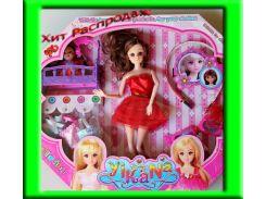 Кукла со сгибающимися ручками и ножками с аксессуарами и пупсом в кроватке