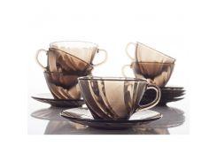 Набор посуды Duralex Beau Rivage Créole, дымчатое стекло, 12 предметов: 6 чашек и 6 блюдец (9005CS12)