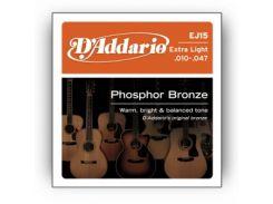 Струны для акустической гитары D'Addario EJ15 Bronze Extra Light (.10-.47)