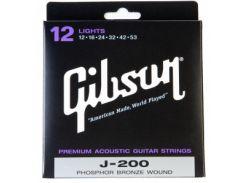 Струны для акустической гитары Gibson SAG-J200L Phosphor Bronze Light (.012-.053)