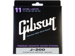 Струны для акустической гитары Gibson SAG-J200UL Phosphor Bronze Ultra Light (.011-.052)