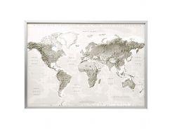 BJORKSTA Картину с рамой, планета Земля, серый-белый, серебристый