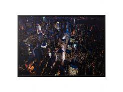BJORKSTA Картину с рамой, огни Нью Йорка, серебряный