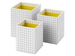 HEJSAN Стакан для ручек, 3 шт., желтый, белый
