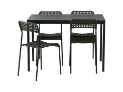TARENDO /ADDE Стол и 4 стула, черный