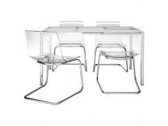 TORSBY /ТОБИАС Стол и 4 стула, белый, прозрачный