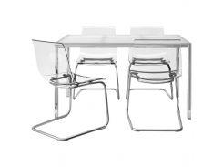 TORSBY /ТОБИАС Стол и 4 стула, стекло белый, прозрачный