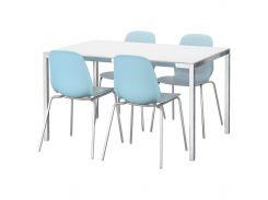 TORSBY /LEIFARNE Стол и 4 стула, стекло белый, светло-голубой