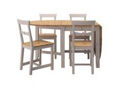 VAXJO Стол и 4 стула, морилка светлая патина, серый