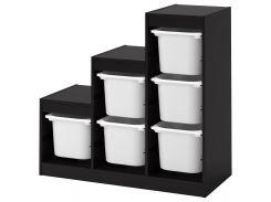 ТРУФАСТ Стеллаж с контейнерами, черный, белый