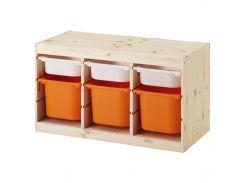 ТРУФАСТ Стеллаж с контейнерами, сосна светлая сосна ? черно-белый, оранжевый