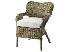 Кресло из ротанга серое, подушка белая