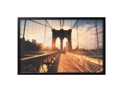 BJORKSTA Картину с рамой, Бруклинский Мост на закате, черный