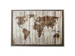 BJORKSTA Картину с рамой, карта на древесине, черный