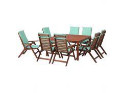 ЭПЛАРО Стол+8 кресел, коричневая морилка, Naston зеленый