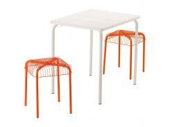 VADDO /VASTERON Стол садовый и 2 стула, белый, оранжевый