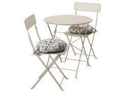 SALTHOLMEN Стол+2 раскладных кресла, на zewatrz, бежевый, Stegon бежевый
