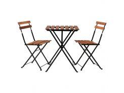 TARNO Стол+2 стула, на открытом воздухе, черный акация, сталь серовато базы морилка